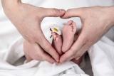 Das Baby ist von einer weißen Decke verdeckt, lediglich seine Füßchen sind in der Bildmitte zu erkennen. Eine Gänseblume steckt zwischen seinen Zehen. Um die Kinderfüße bilden zwei Erwachsenenhände ein Herz.
