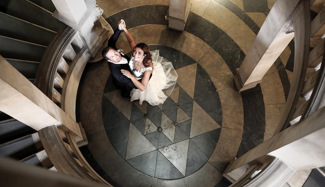 Hochzeitsfotograf Hannover Franz Fender: stimmungsvolles Brautpaar, Neues Rathaus Hannover